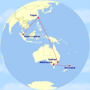 Map of Asia Pacific Tour 2016