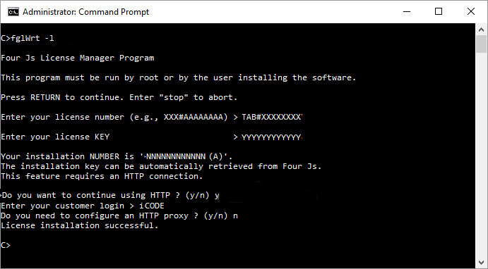 Image shows installation of license using the fglWrt command and taking the option for automatic registration of license over the internet