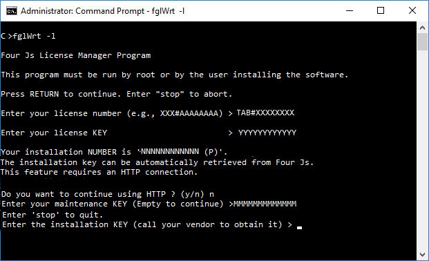 Screenshot of installation of license using the fglWrt -l command, output explains how to get the installation key and complete licensing.